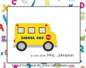 School Bus Driver Note Cards Set of 10 personalized flat or folded cards