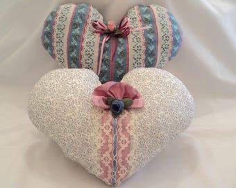 Heart Pillows, Ring Bearers Pillow, Wedding Pillow, Victorian Pillows, Shabby Chic Pillows, Decorative Heart Pillows, Country Cottage Decor