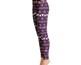 Folk Geometric Floral Triangles Flowers Fair Isle Plum Pink Pattern HandDrawn Classic Design Designer Patterned Yoga Leggings