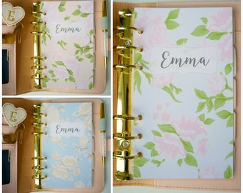 Personalised Rose A5, A6, B6, Personal & Pocket Size Planner Dashboards