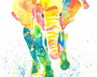 Elephant Watercolor Original Painted Print