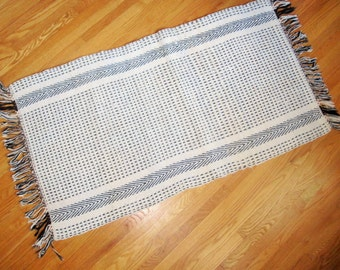 Black and Off-white Hand-loomed Rag Rug  - Great Pattern and Size - Southwestern Pattern - Warm, Rich Colors -  Loom Threads - Forever Rug