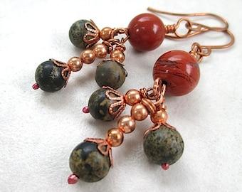 Red & Green Stone Earrings, Copper, Jasper Gemstones, Long Dangly Clusters, Dark Earthy Colors, Bohemian Style, Boho Gift for Women E391