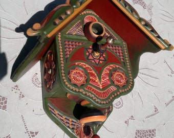 hand painted bird house in warm summer colors