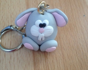 Cute Easter Rabbit Keychain, Easter Bunny, Rabbit Keyring, Polymer Clay Keychain, Easter Gift, Clay Rabbit, Clay Keychain