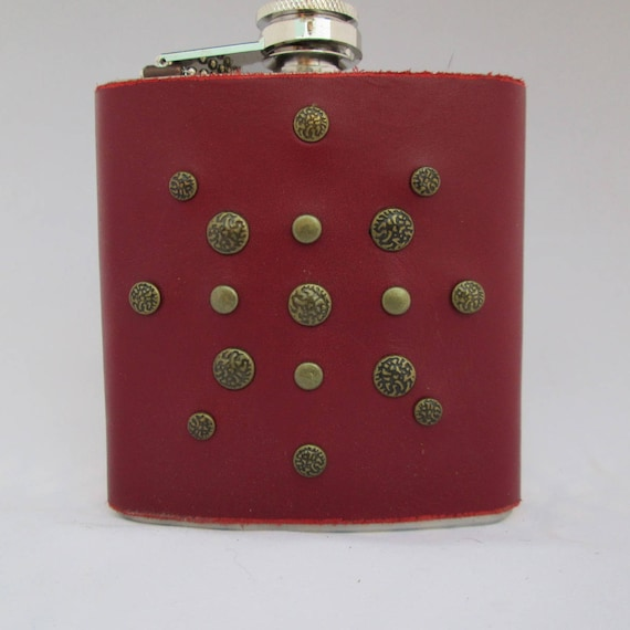 Red studded Leather Flask
