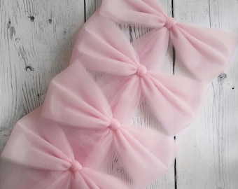Tulle Pink Pew Bow, Pink Pew Decorations, Wedding Pew Bow,  Bridal Shower Decoration, Church Aisle Decor, Wedding Chair Bow, Tulle Pew Bow