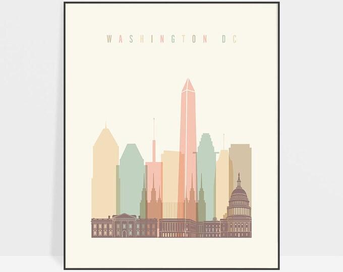 Washington DC Wall art Print, Washington Poster, Washington DC skyline, City poster, Typography art, Home Decor, ArtPrintsVicky