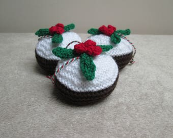 3x Hand Knitted Christmas Puddings Figgy Puddings Christmas Decoration Ornament