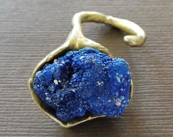 Raw Azurite Nodule Bronze Ring  Byzantine Medieval  Game of Thrones Lost Treasure Organic Jewelry