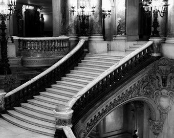 Paris Photography, Opera House, Grand Staircase, Black and White Travel Photography, Vertical Print, Opera Stairs
