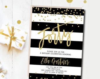 Birthday Party Invitation, Cocktail Party Invitation, Printable, Gold, Black Fold White, Cocktail Party Invite, 40th Birthday, 30th, 21st
