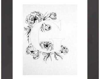 Illustrated 'G' initial print