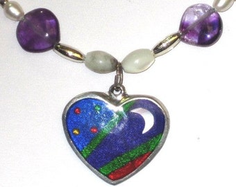 Enamel on Sterling Silver Heart with Moon and Stars on Beaded Necklace with Gemstone and Glass Heart Beads