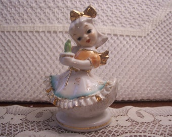 Rare Chase Angel Figurine with Bone China Lace, Japan