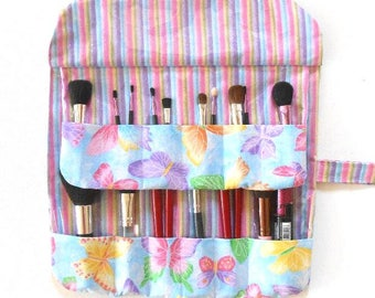Butterfly Print Makeup Brush Roll, 12 Pockets, Vinyl Backed, Holder for Cosmetics, Travel Brush Storage, Makeup Carrier, Brush Case