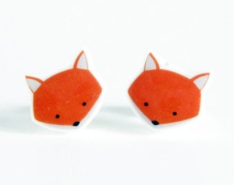 Fox Earrings | Sterling Silver Posts Stud Earrings | Gifts For Her