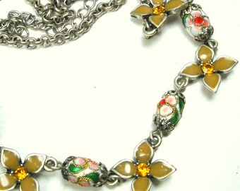 Sweet Petite Cloisonne Flower and Bead Chain Necklace, Green. White, Pink on Silver, 1980s Chinese Enamel, OOAK  Rachelle Starr