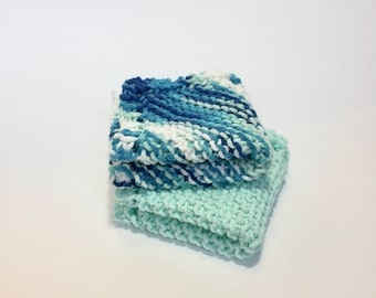 Hand Knitted Dish Cloths, Set of 2