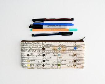 Vintage Color Chart Pencil Case - Zipper Pouch - Makeup Bag - Back to School Supplies - Paint Palate - Artists Pouch - Organizer