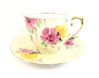 Roslyn Yellow Tea Cup and Saucer, Hand-painted, Pink & Yellow Flowers, Shower, Tea Party