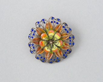 Vintage Old World Style Floral Brooch 800 Silver Plique a jour