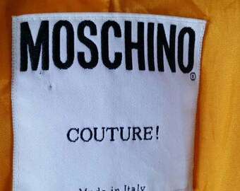 MOSCHINO COUTURE VINTAGE jacket, crepe jacket, orange jacket, size 12 us 8 medium jacket, peplum jacket, cropped jacket, designer jacket