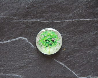 """""""Flowered tree"""" 25 mm glass cabochon"""