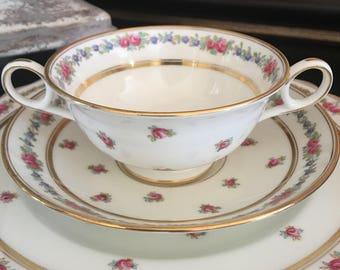 Antique Cauldon Bouillon Cup & Saucer w/ Dessert Pie Plate Brown Westhead Moore / Pink Rose Floral ~ #1576