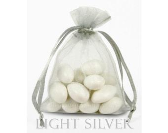 10 Light Silver Gray Organza Bags, 20x21 Inch Sheer Fabric Light Gray Favor Bags