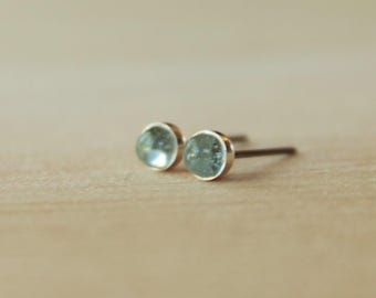 Sky Blue Topaz Gemstone 4mm Bezel Set on Niobium or Titanium Posts (Hypoallergenic Stud Earrings for Sensitive Ears)