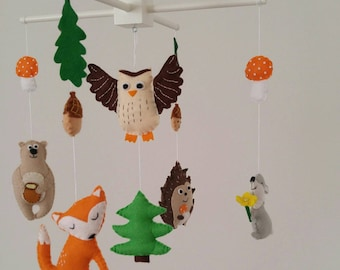 Forest animals baby mobile, woodland baby mobile- made to order