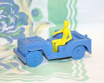 Blue Plastic Jeep toy w/man, 1970s