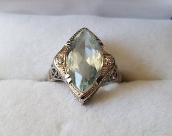 Antique 18K White Gold Aquamarine Ring