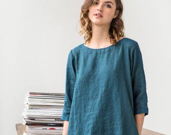 Linen dress JANUARY / Washed linen tunic / available in 34 colors