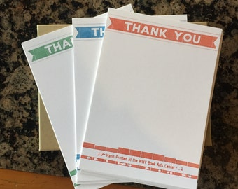 Letterpress Printed 'Thank You' Stationery Set, includes envelopes!