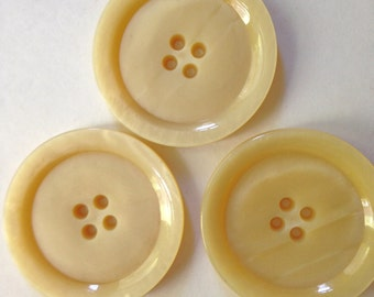 Coat Buttons Vintage Lucite  50s WInter White HUGE