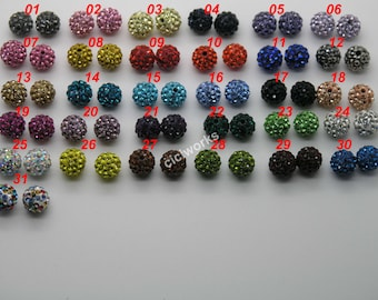 10mm Multi-colors Polymer Clay Rhinestone Beads Charm Pave Disco Ball Bracelet/nNcklace Bead