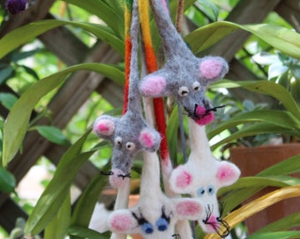 Hand Made Wool Felted Cat Toy Mouse / Mice