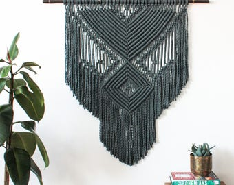 Macrame Wall Hanging > MAYA, CHARCOAL > 100% Cotton Cord in Charcoal with Black Moso Bamboo