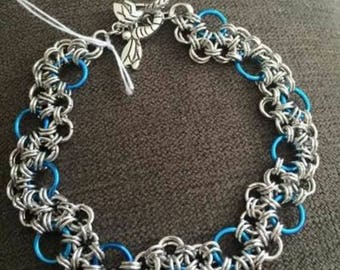 Blue and silver chain mail bracelet, dragonfly toggle