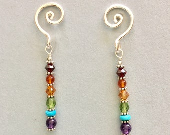 Rainbow post earrings