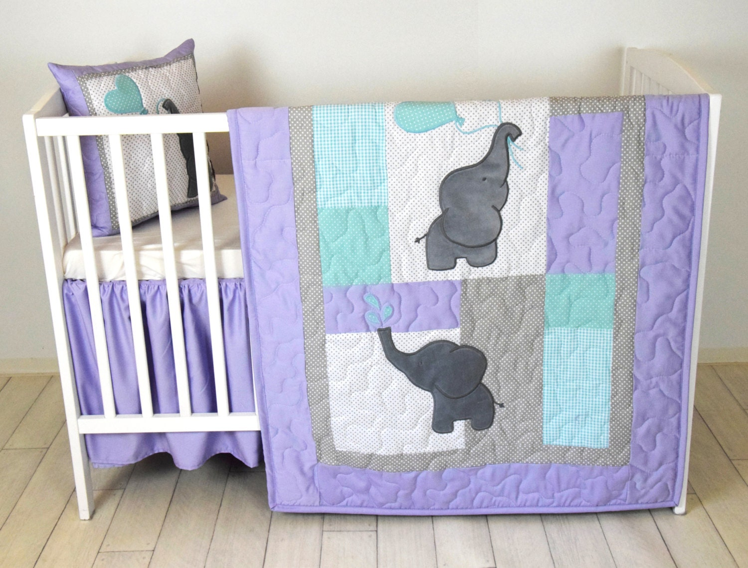Baby Quilt Elephant Blanket Teal Purple Gray Crib Bedding