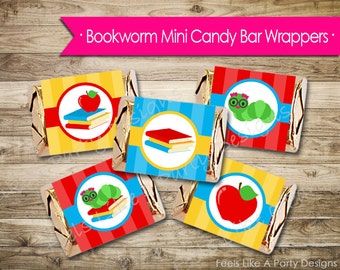 Girl Bookworm Mini Candy Bar Wrappers - Instant Download
