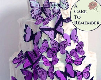 Wedding cake topper 30 purple lavender ombre edible butterflies, ombre cake ideas, wafer paper butterflies. Rustic wedding decor ideas