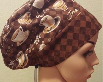 Women's Surgical Cap, Scrub Hat, Chemo Cap, Coffee Cafe