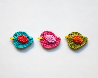 Instant Download - PDF Crochet Pattern -  Bird Applique - Text instructions and SYMBOL CHART instructions