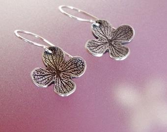 Hydrangea Flower Earrings in Sterling, Free Shipping, Last Minute Gift, Gardening Gift