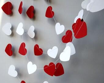 Red white heart garland, Wedding decoration, Heart garland, Red white garland, Bridal shower decor, Paper garland, KCO-3051