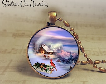"""Winter Wonderland with Cardinal - 1-1/4"""" Circle Pendant or Key Ring - Colorful Snowy Scene - Wintery Christmas Present or Holiday Gift"""
